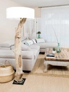 Lampe en bois flotté avec abat jour coton