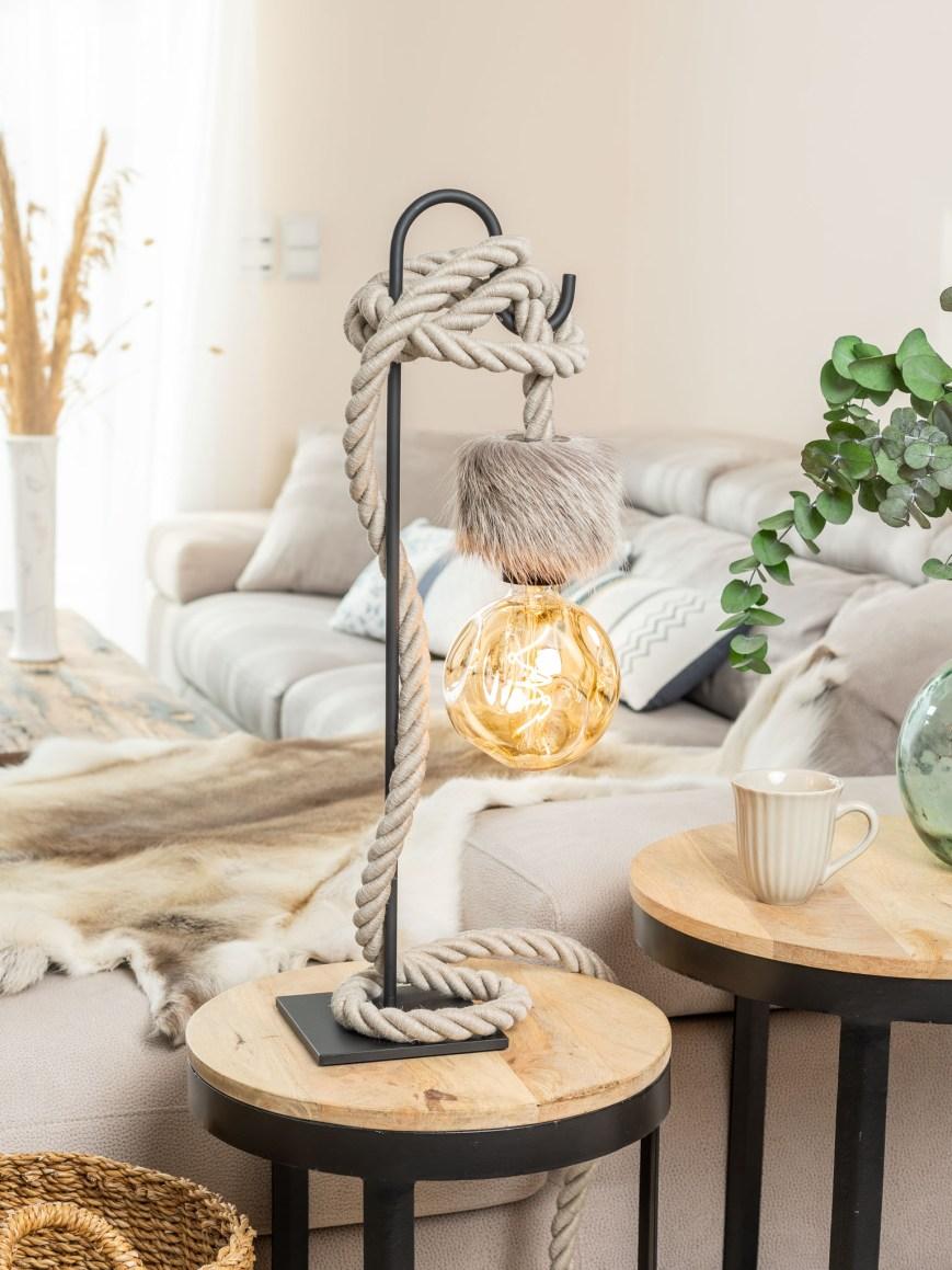 Lampe de table potence métal noir corde lin naturel peau de renne