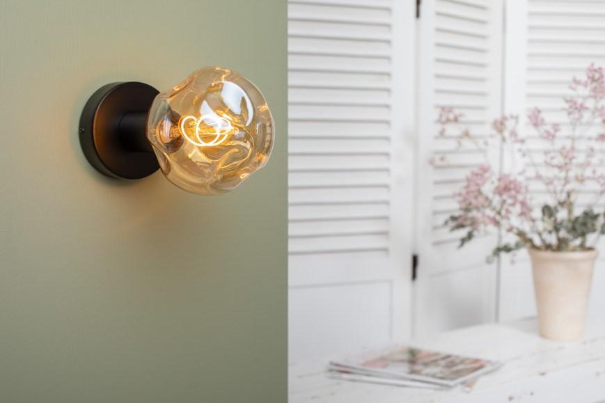 Applique bois noir ampoule G140 gold