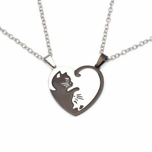 Collier chat duo cœur