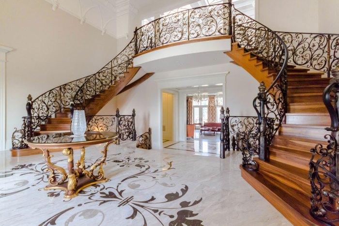Chateau Inspired Custom Home - Main Foyer - Custom marble medallion