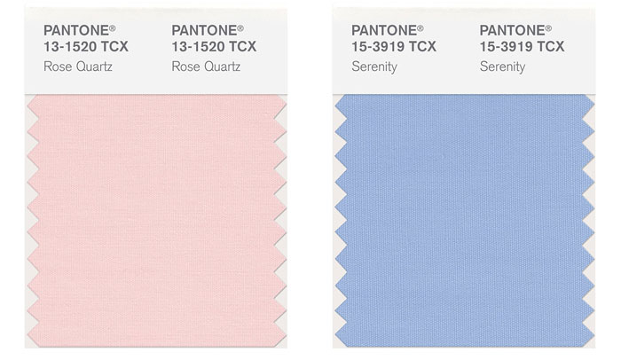 Pantone Colours of the Year 2016 - Rose Quartz & Serenity