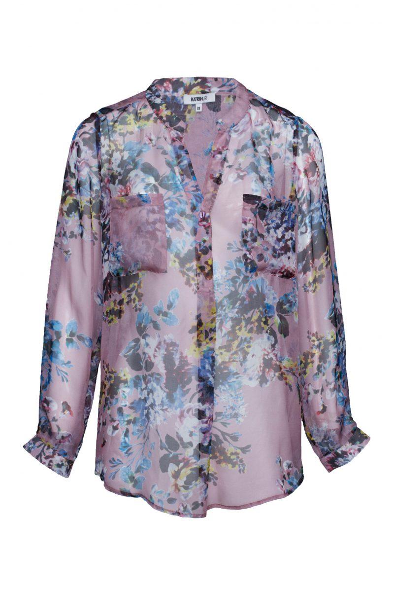 Rosablomstret silkebluse Katrin Uri - 413 Pink hour silk skirt