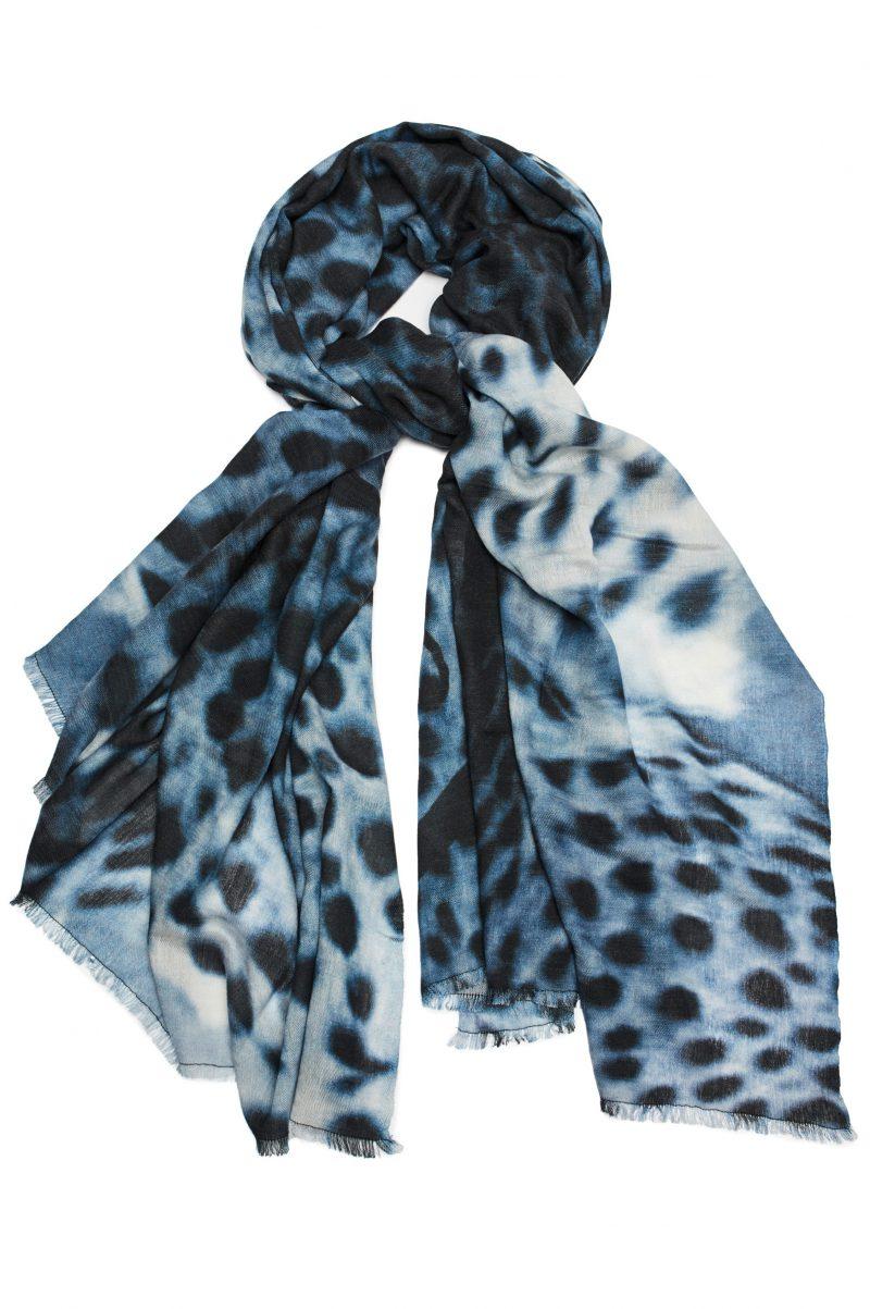 Blå gepardskjerf Katrin Uri - 933 blue gepard