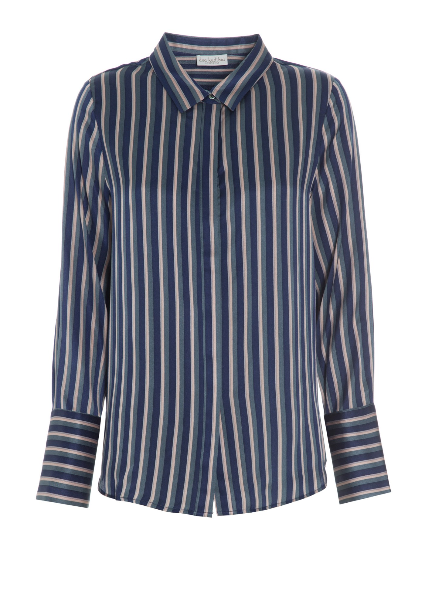 Rosablåstripet silkeskjorte Dea Kudibal - Chelsea flow navy