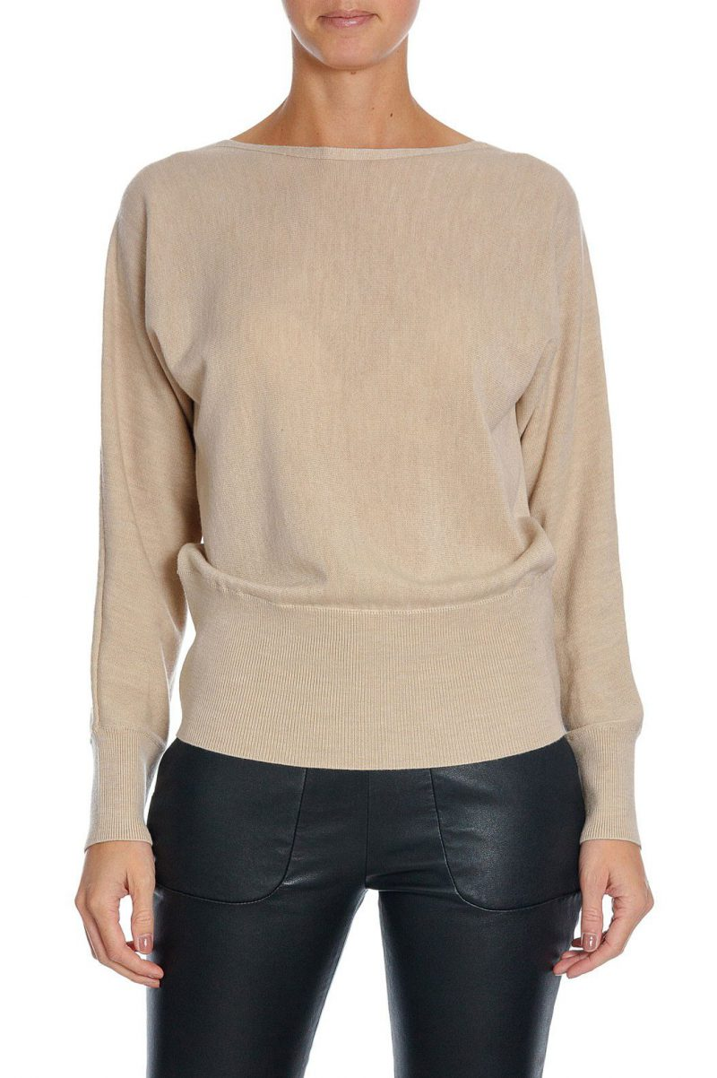 Taupe merinogenser med ribbet linning Cathrine Hammel - 110.217 swether with cuffs