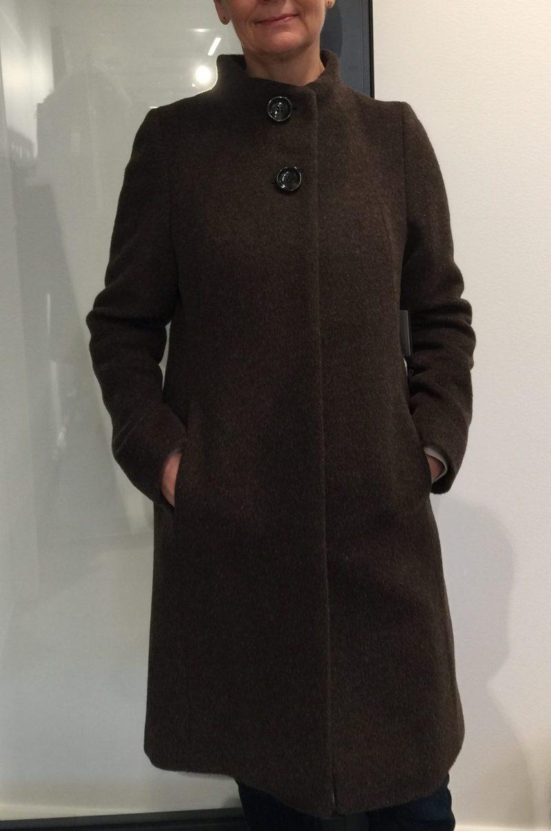 Brun eller sort enkel alpakka kåpe Dixi Coat - 8005 655