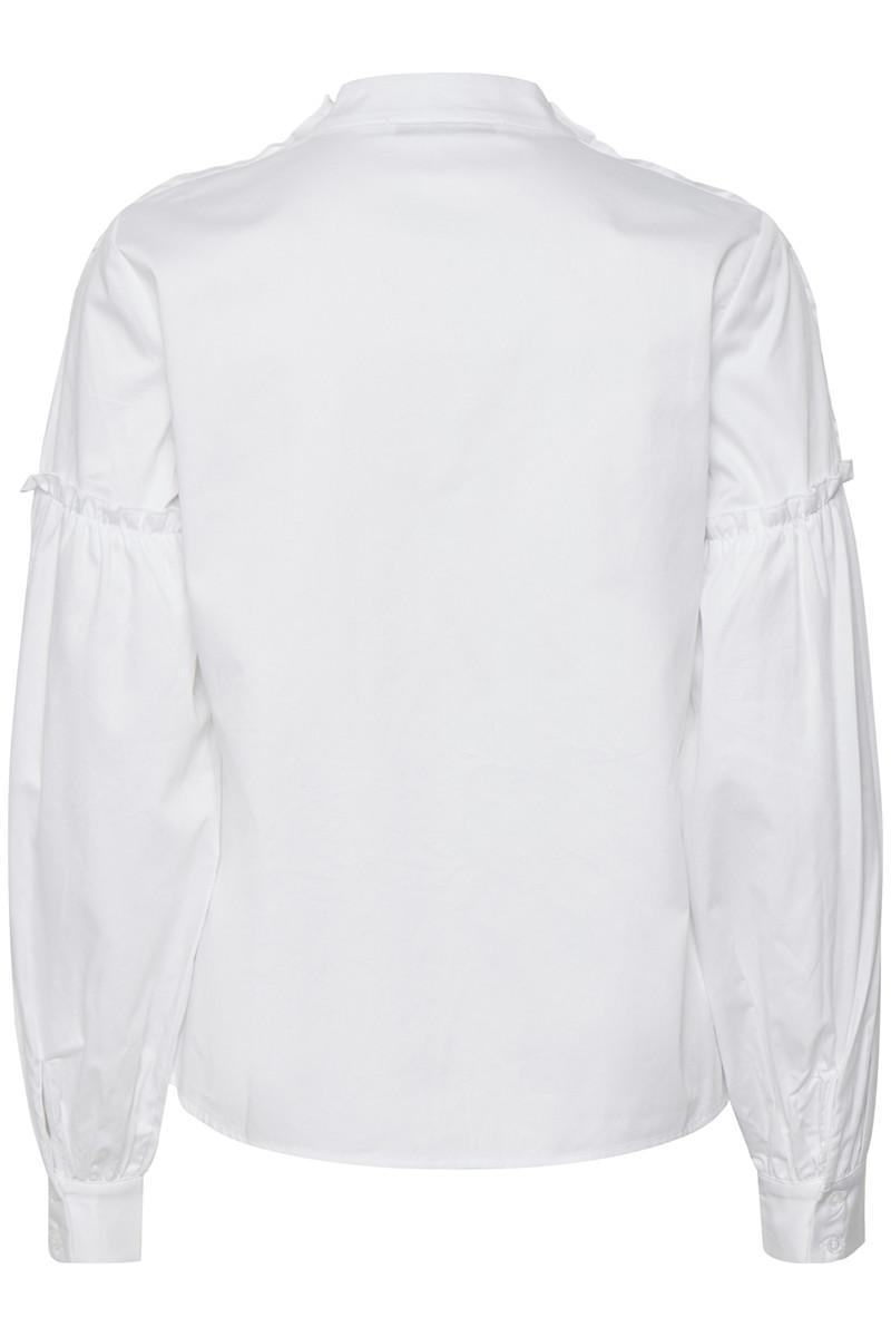 Hvit bomullsbluse med poseerm Gestuz - basby blouse 1323
