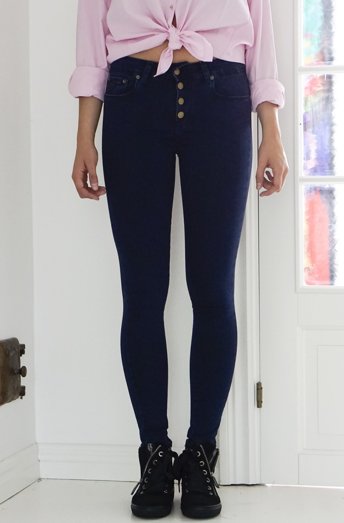 Smal blå bukse med knapper Lois jeans - cordoba 2150 lilian blue classic 5253 L32