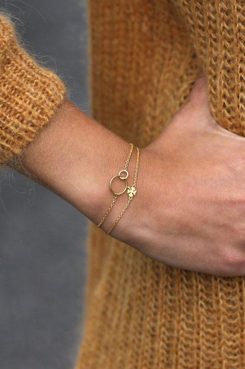 'Clover' armbånd med kløver Enamel Copenhagen - B21GM Bracelet, clover