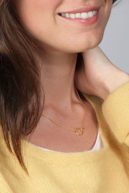 'Double circle necklace' kjede Enamel