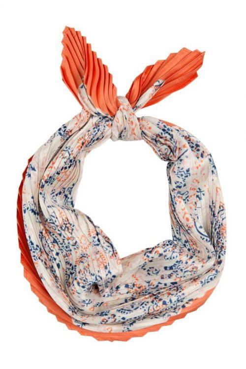 Kremrosa mønstret silkeskjerf med korall kant Dea Kudibal - Agnes scarf 71-118