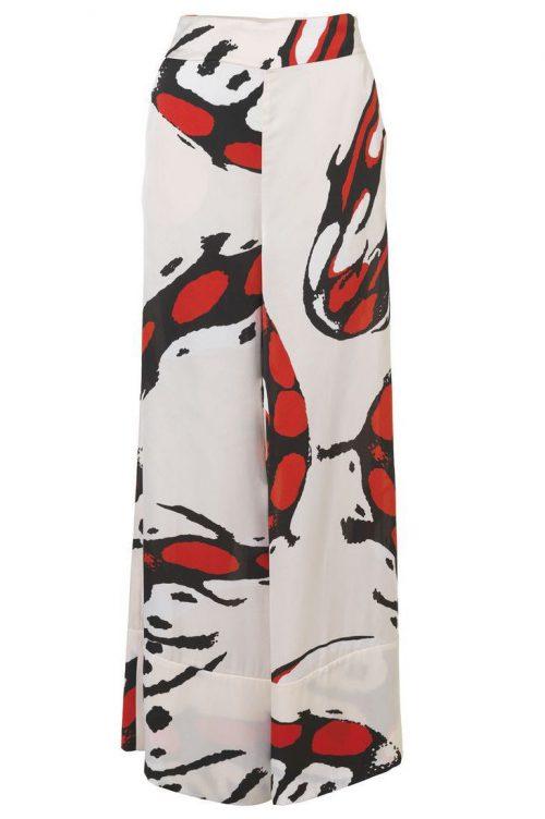 Offwhite med rødt mønster viddebukse By Malene Birger - ladrolle q64775003