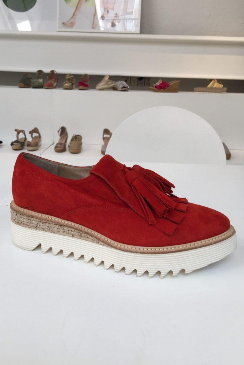 Rød semsket sko med dusk Laura Bellariva