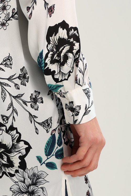 Hvitblomstret skjortekjole Gestuz - floria long shirt 1907