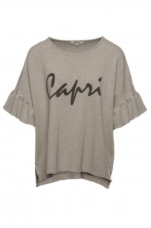 Grå oversized t-shirt med volanger Katrin Uri - 242 capri top w-print