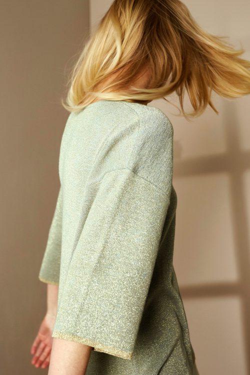 Sjøgrønn lurex oversized genser Katrin Uri - 308 monaco loose pullover