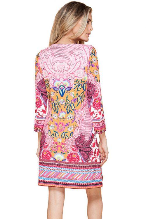 Korallorange mønstret kjole Hale Bob - 82br6499 emily