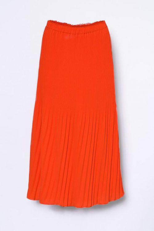 Korallrødt legglangt plisséskjørt Cathrine Hammel - 455.118 long miami skirt