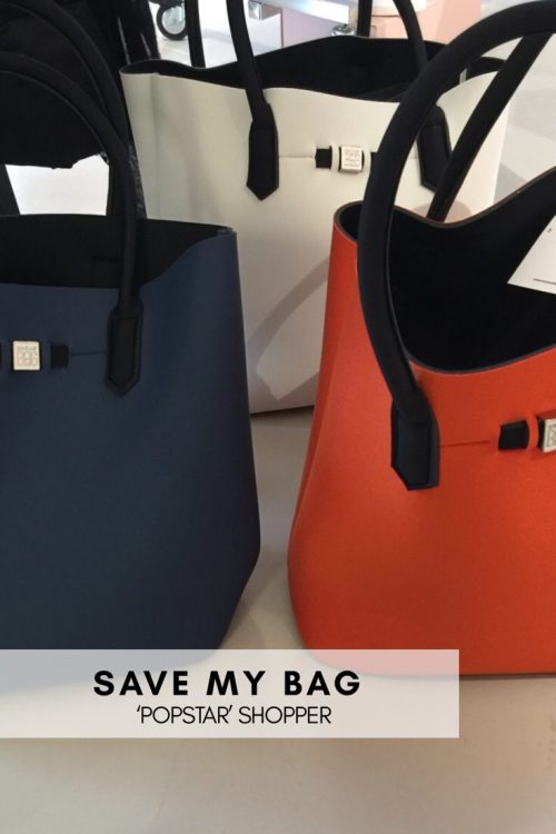 Hvit, blå eller orange metallic shopper (strandbag) Save My Bag - popstar