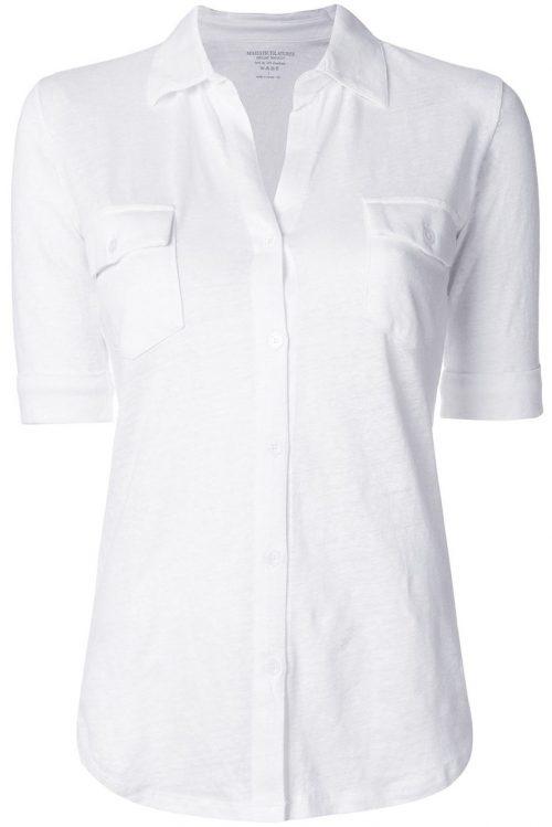 Hvit eller lyseblå lin skjorte med kort erm Majestic - E181612