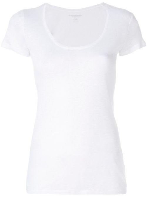 Hvit lin t-shirt med dyp ringning Majestic Filatures - E181603