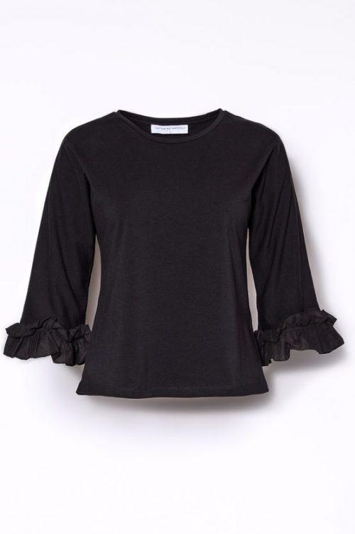 Sort topp med volangerm Cathrine Hammel - 221. 118 t-shirt ruffle