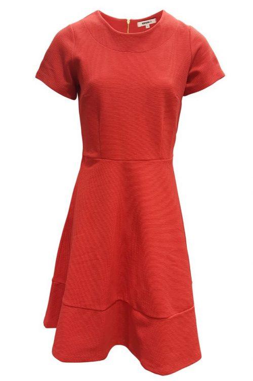 Navy eller korallrød rillet kjole med kort erm - 638 chicago dress