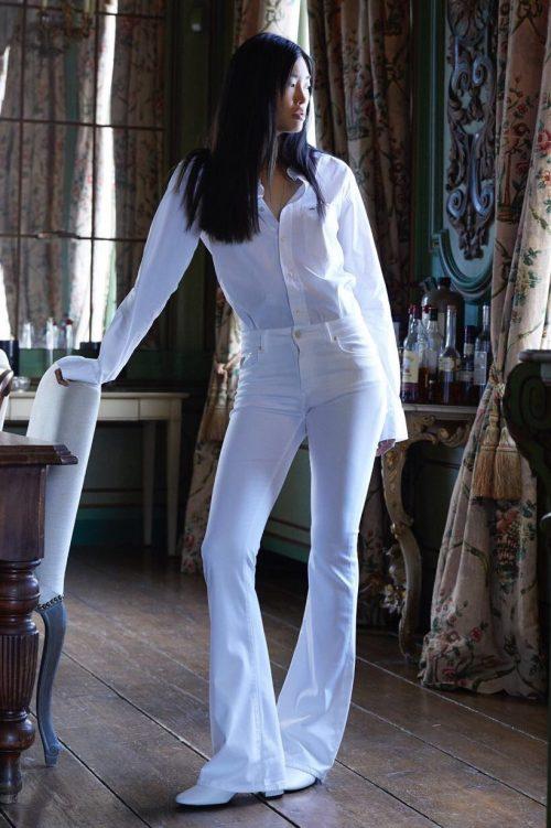 Hvit, navy, beige eller pudder flare supermyk bukse Lois Jeans - raval 2007-6045 lacix fresh L32 + L34