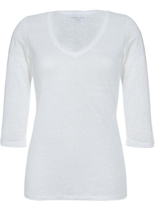 Hvit eller kaki lintopp med 3/4 erm Majestic Filatures - E171605