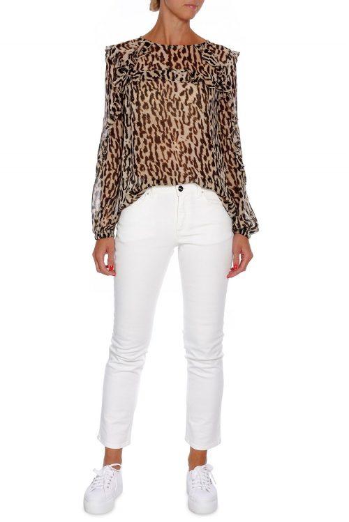 Sandfarget leopard viskose bluse Munthe