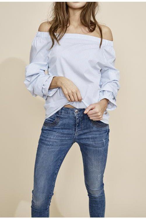 Jeans med symaskinsøm ved lommer Mos Mosh - 121730 naomi shine stitch