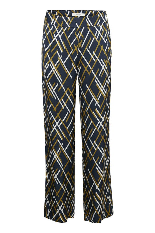 Moseblå grafisk mønstret viskose bukse Gestuz - vinta pant