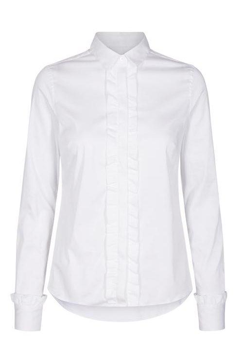 Hvit bomullstretch bluse m rysjer foran og volangmansjetter Mos Mosh - 124740 tilda flounce
