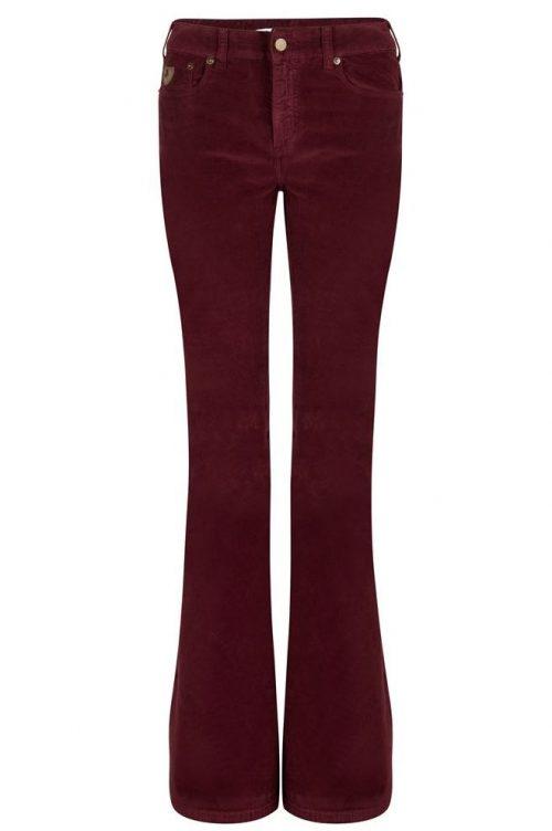 Sort, cognactobakk, blodrød eller offwhite 'Raval' velour flare bukse Lois Jeans