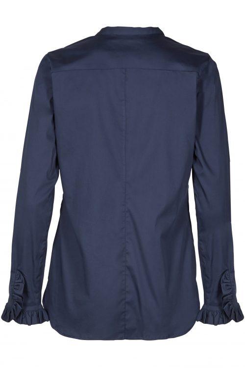 Marine bomullsbluse med kinahals og volang-mansjetter Mos Mosh - 119190 mattie shirt