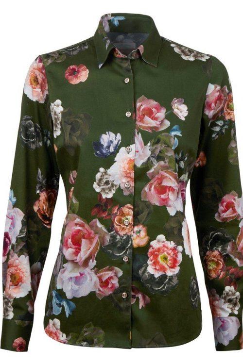 Grønn med rosemotiv bomullstretch bluse Stenstrøms - 261000-6579