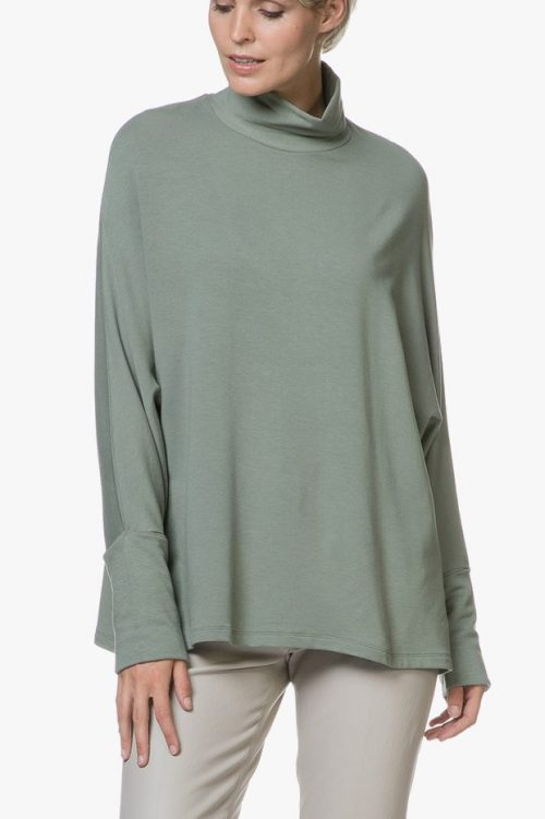 Lindegrønn eller sort oversized fleece jersey polo genser Majestic Filatures - J004 fts 046