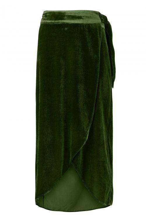 Guccigrønn velour omlott skjørt Gustav - 28551-7126