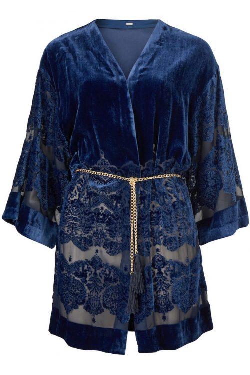 Brilliant blue velvet silke/viskose kimono Gustav - 28610-7126