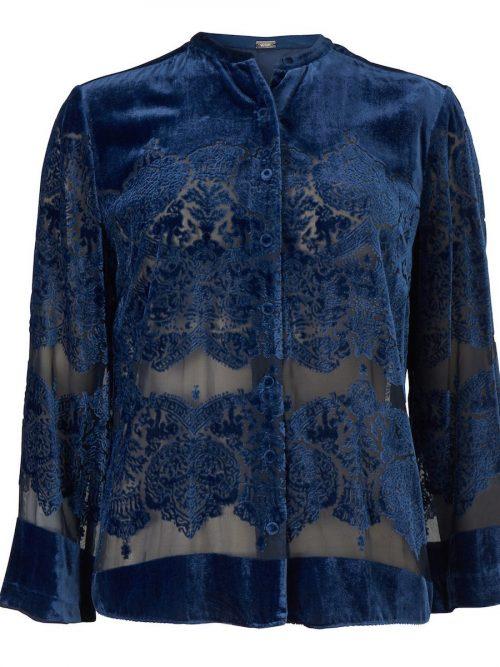 Brilliant blue velvet silke/viskose skjortejakke Gustav - 28611-7126