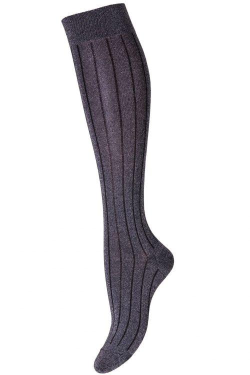Sølv med sort stripe lang glittersokk MP Denmark - Helsinki 89501-497