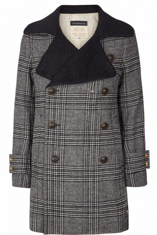 Grårutet 'Miranda Check Coat' ytterjakke med sort slag Mos Mosh - 123870 miranda check coat