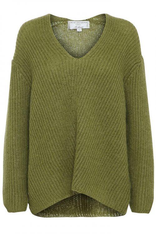 Syrlig grønn eller powder mohairmix oversized v-genser Dear Dharma - vica neck