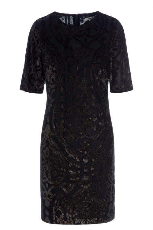Brunsort burned out velour kjole Katrin Uri - 664 fleurs fitted dress