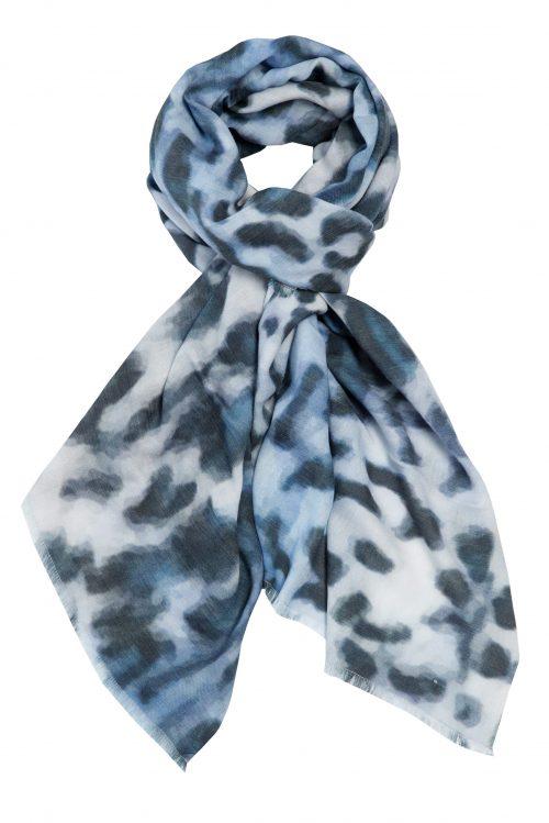 Blått cashmeremix leopard skjerf Katrin Uri - 905 blue leopard