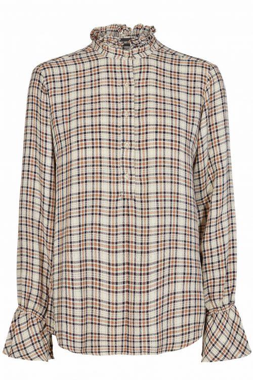 Cognac check 'Linda' bluse Mos Mosh - 124670 linda blouse