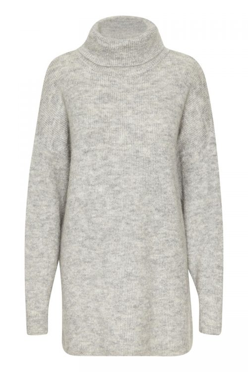 Light grey oversized lang mohairmix pologenser Gestuz - livia rollneck