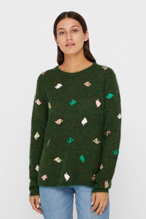 Guccigrønn mohairmix genser med broderi Gustav - 28409-3615