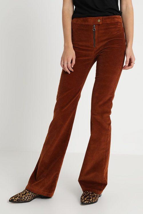 Superhot! Kanelbrun eller sort medium-bred cord 'Rawide' viddebukse med glidelås Lois Jeans